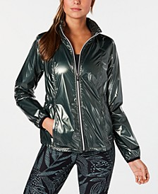 Metallic Water-Repellent Hooded Jacket