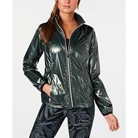 Calvin Klein Performance Womens Metallic Water-Repellent Hooded Jacket