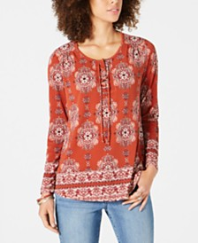 Style & Co Printed Lace-Up Long-Sleeve Top, Created for Macy's