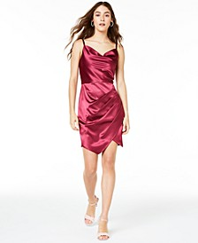 Juniors' Stretch Satin Draped Dress