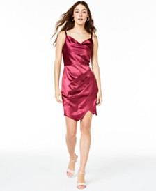 BCX Juniors' Stretch Satin Draped Dress