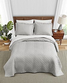 Tommy Bahama Solid Pelican Grey Quilt Set, King