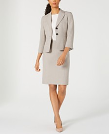 Kasper Two-Button Melange Jacket & Melange Pencil Skirt
