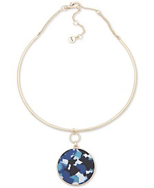 """DKNY Gold-Tone Colored Acetate Pendant Necklace, 16"""" + 3"""" extender"""