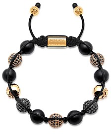 Men's Beaded Bracelet with Matte Onyx and Black/Gold Cubic Zirconia Crystals