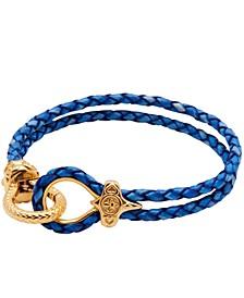 Men's Blue Leather Bracelet with Gold Hook Clasp