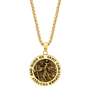 """""""Saint Christopher"""" Coin 24"""" Pendant Necklace in Gold-Tone Stainless Steel"""
