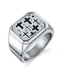 Square Cross Ring in Stainless Steel