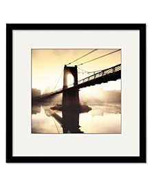 Footbridge in The Setting Sun Framed and Matted Art Collection