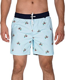 "Men's Canopy Stretch Tropical-Print 17"" Swim Trunks"