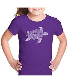 Girl's Word Art T-Shirt - Turtle