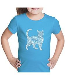 Girl's Word Art T-Shirt - Cat