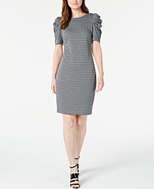 Petite Puff-Sleeve Gingham Sheath Dress