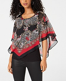 Juniors' Printed Poncho Top