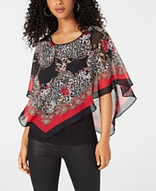 BCX Juniors' Printed Poncho Top