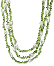 """Cultured Baroque Freshwater Pearl (8mm) & Gemstone 18"""" Necklace in Sterling Silver"""