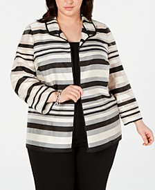 Plus Size Shadow-Stripe Jacket