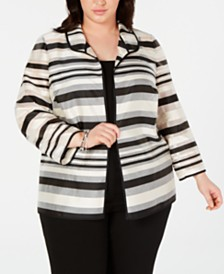 Kasper Plus Size Shadow-Stripe Jacket