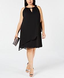 Plus Size Chiffon-Overlay Shift Dress