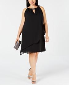 Jessica Howard Plus Size Chiffon-Overlay Shift Dress
