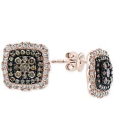 EFFY® Diamond Halo Cluster Stud Earrings (1 ct. t.w.) in 14k Rose Gold