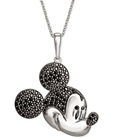 """Black Spinel Micky Mouse 18"""" Pendant Necklace in Sterling Silver"""