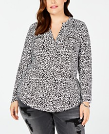 I.N.C. Plus Size Printed Zip-Pocket Top, Created for Macy's