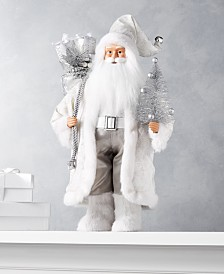 "Holiday Lane Shine Bright 18"" Fabric Standing Santa with Silver Tree Decor, Created for Macy's"