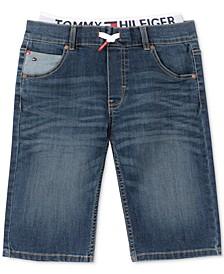 Little Boys Retro Revolution-Fit Stretch Textured Layered-Look Denim Shorts