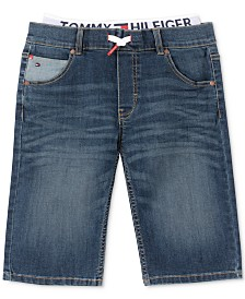 Tommy Hilfiger Big Boys Retro Revolution-Fit Stretch Textured Layered-Look Denim Shorts