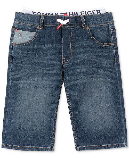 Tommy Hilfiger Big Boys Retro Revolution-Fit Stretch Textured Layered-Look Denim Shorts