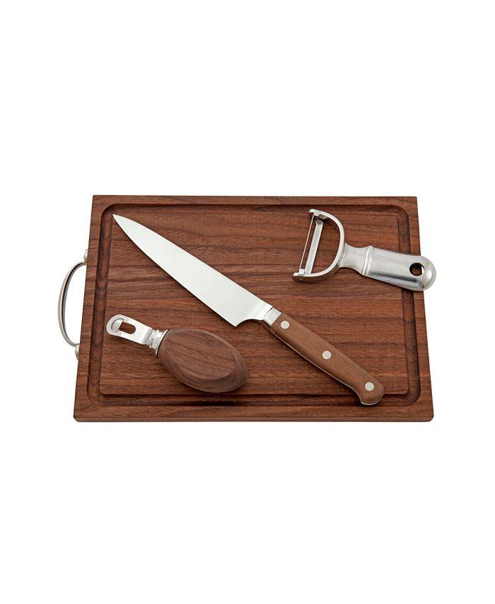 Fortessa - Bar Knife - walnut handle. Peeler - stainless steel. Channel Knife - stainless steel and walnut. Bar Board - walnut.