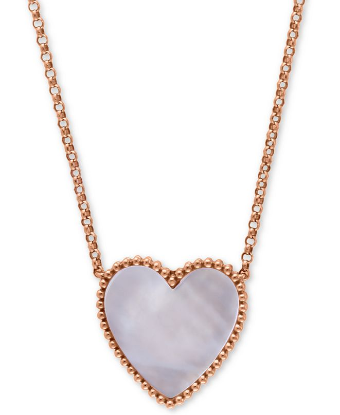 """EFFY Collection EFFY® Mother-of-Pearl Heart 18"""" Pendant Necklace in 14k Rose Gold"""