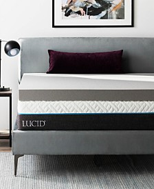 "Dream Collection by LUCID 4"" Ventilated Bamboo Charcoal Memory Foam Mattress Topper Collection"