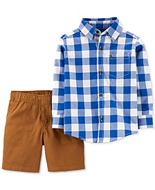 Toddler Boys 2-Pc. Cotton Plaid Shirt & Shorts Set
