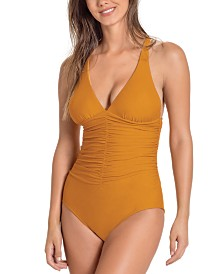 Leonisa Shirred Firm Compression One-Piece Swimsuit
