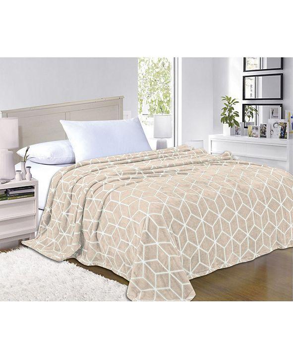Elegant Comfort Super Silky Soft - Sale - All Season Super Plush Luxury Fleece Blanket King/Cal King Cube Design