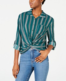 Self Esteem Juniors' Striped Twist-Front Button-Up Shirt
