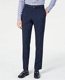 HUGO Hugo Boss Men's Slim-Fit Dark Blue Micro-Check Suit Pants
