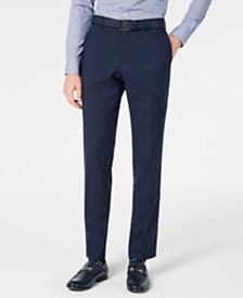 HUGO Hugo Boss Men's Slim-Fit Dark Blue Micro-Check Suit Pants