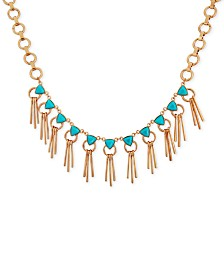 "GUESS Gold-Tone Stone & Bar Fringe Statement Necklace, 16-1/2"" + 2"" extender"