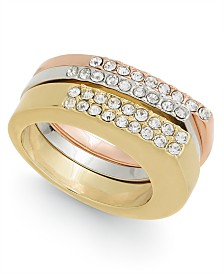 Alfani Tri-Tone 3-Pc. Set Pavé Stackable Rings, Created for Macy's