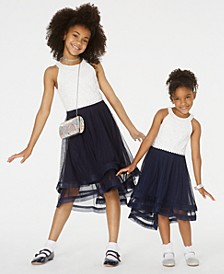 Toddler, Little & Big Girls Glitter Lace-Bodice Dress