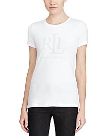 Lauren Ralph Lauren Petite Studded Logo-Graphic Jersey T-Shirt