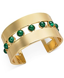 Alfani Gold-Tone & Green Malachite Stone Cuff Bracelet, Created for Macy's
