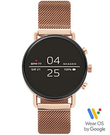 Skagen Falster 2 Rose Gold-Tone Stainless Steel Mesh Bracelet Touchscreen Smart Watch 40mm, Powered by Wear OS by Google™