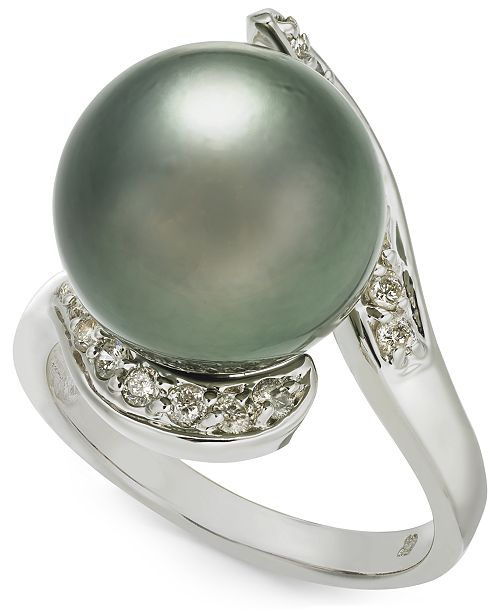 Macy's Cultured Tahitian Pearl (13mm) & Diamond (1/3 ct. t.w.) Ring in 14k White Gold