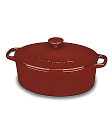 Chefs Classic Enameled Cast Iron 5.5-Qt. Oval Covered Casserole