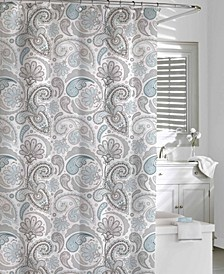 Cotton Printed  Floral Swirls Shower Curtain