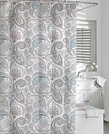 Cotton Printed  Floral Swirls Shower Curtain